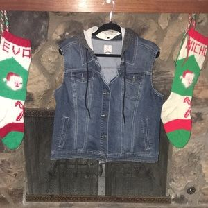 Dressbarn Denim Vest with Hood